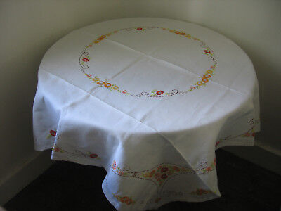 Vintage Irish Linen Tablecloth Floral  Hand Embroidery