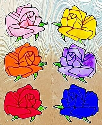 6 Or 12 Roses Choice Of Colours. Window Cling Stained Glass Look Decals Door