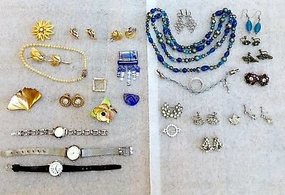 "Collection ""lot"" Of Jewelry Large Mix Of 39 Pcs Old & Vintage Estate Find"