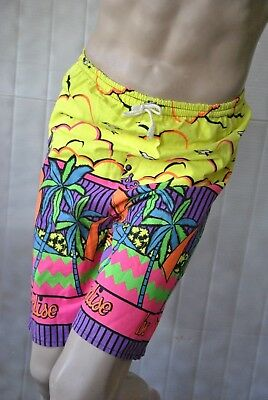 Paradise Neon beach Surfhose Badehose Shorts Swimming Trunks 90s True VINTAGE