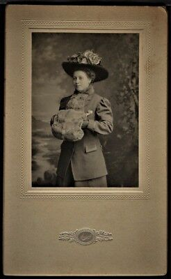 Small Antique Photo Young Woman Large Hat Fur Muff Coat Scholl Chicago Illinois