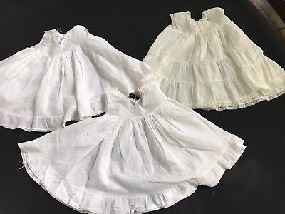 Lot Of 3 Vintage Baby Or Toddler White & Off White Petticoats Or Silps