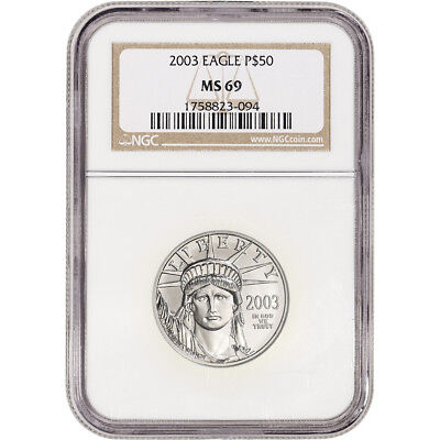 2003 American Platinum Eagle 1/2 oz $50 - NGC MS69
