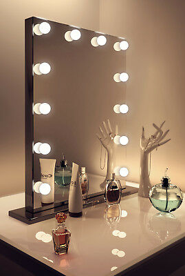 Diamond X Gloss Black Hollywood Makeup Mirror Daylight Dimmable LED k112MCW