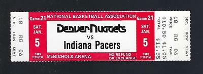 1979-80 Nba Indiana Pacers @ Nuggets Full Unused Basketball Ticket - Jan 5