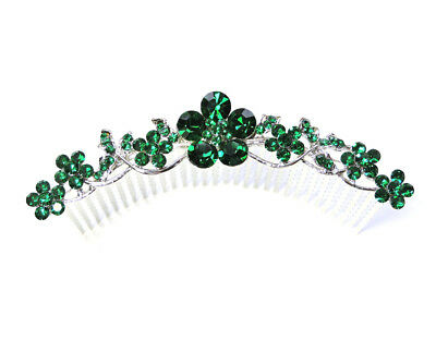 Green Hair Comb Emerald Color Crystal Floral Bridesmaid Wedding Party Prom