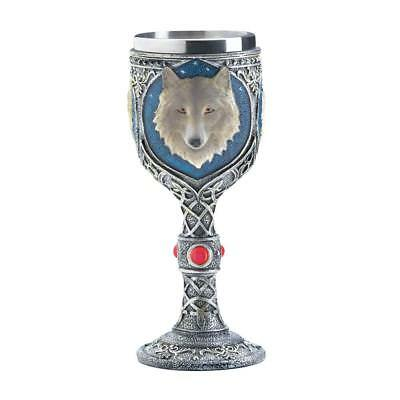 "White Timber Wolf Spirit Wine Goblet Chalice Stainless Steel 7.5"" New 10017864"