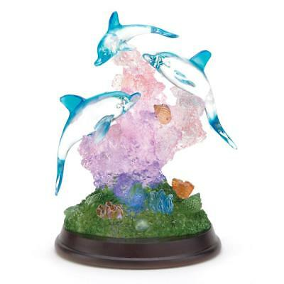 Light Up Dolphin Sculpture Figurine Accent Desk Table Gift Ocean Decor 38031