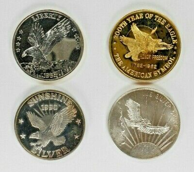 Variety Of American Eagles  1 Troy Oz .999 Fine Silver Round Lot Of 4