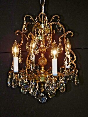 ANTIQUE French Brass Bronze 4 Arm 4 Lite Birdcage Lead Cut Crystal Chandelier