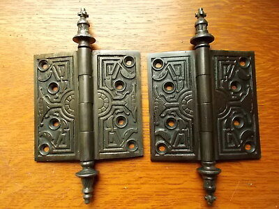 "Two Antique Fancy Victorian Eastlake Iron Door Hinges 4"" X 4""  1878 - Corbin"