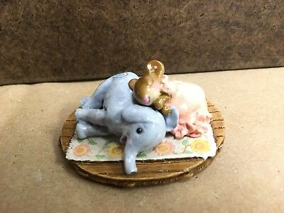 Wee Forest Folk Mouse Jumbo Pillow Blue Elephant Pink Pajamas M-356