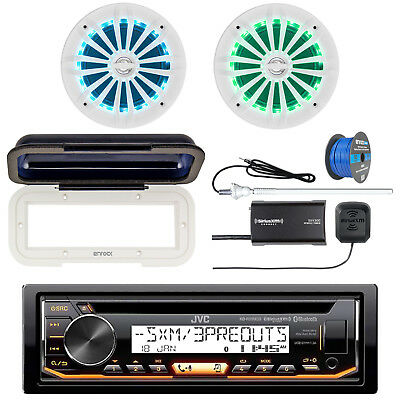 JVC Marine Bluetooth CD Radio + Cover, 2x LED Speakers, Tuner, Antenna, Wire