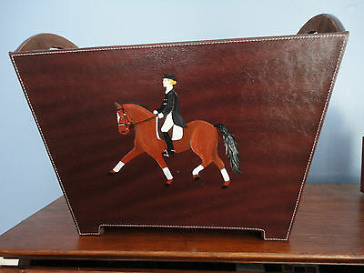 Dressage Horse  Hand Painted Brown Magazine Faux Leather Box