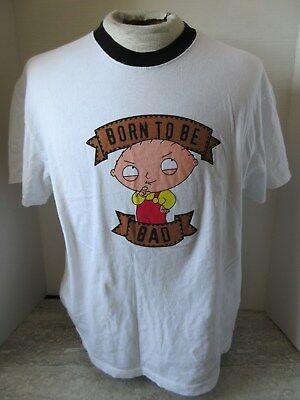 2009 Family Guy Stewie Born To Be Bad White T-Shirt Size Medium