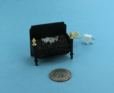 Dollhouse Miniature 12 volt Wired Fireplace Insert with Glowing Embers #S2597