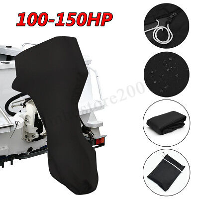 600D Black Boat Full Outboard Engine Cover Fits For 100-150HP Motor Waterproof