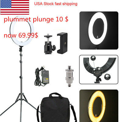 """LED Ring Light Photography Dimmable Adapter Continuous Lighting Universal  14"""""""