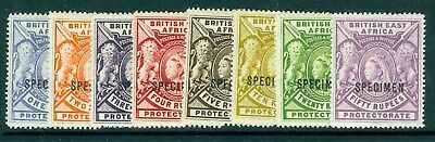 SG 92s/99s British east Africa 1R to 5R 8 Values overprinted specimen mounted