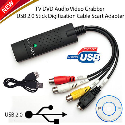 USB 2.0 VHS Tapes Tape to DVD VCR Audio Video Converter Capture Card Adapter PC