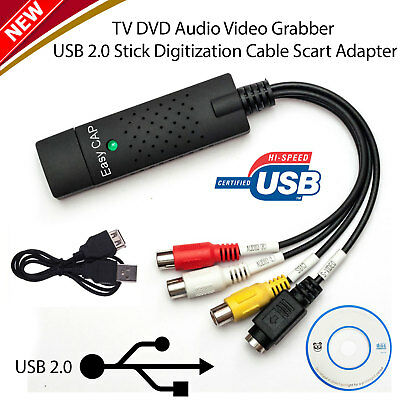USB 2.0 Video Audio Capture Card Device Adapter VHS VCR TV to DVD Converter PC
