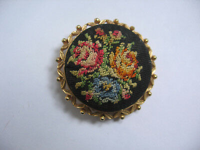 VINTAGE 1930's BROOCH HAND EMBROIDERED  PETIT POINT ROSES