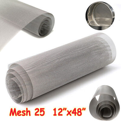 """316 Stainless Steel 25 Mesh Wire Cloth Woven Screen Filtration Filter 12"""" x 48"""""""