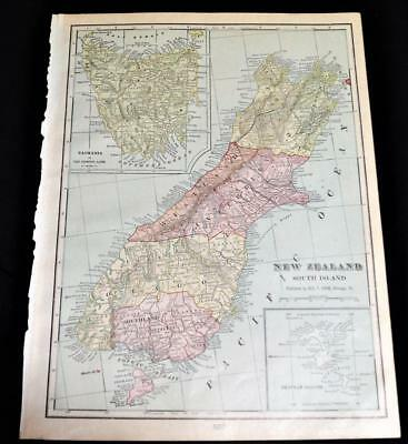 New Zealand South Island & Africa Crams Atlas Map Page Plate 1908 Vintage