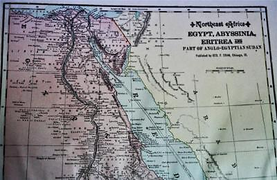 Egypt Morocco South Africa Atlas Map Page Plate 1908 Vintage George F Cram