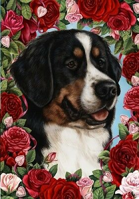 Large Indoor/Outdoor Roses Flag - Bernese Mountain Dog 19051