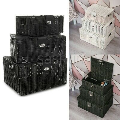 Set Of 3 Resin Woven Wicker Xmas Hamper Basket Storage Box With Lid & Lock Gift