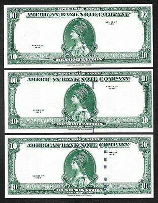 US/American Bank Note Co. (ABNC) Specimen Notes -1929 - 3 Varieties  Unc.