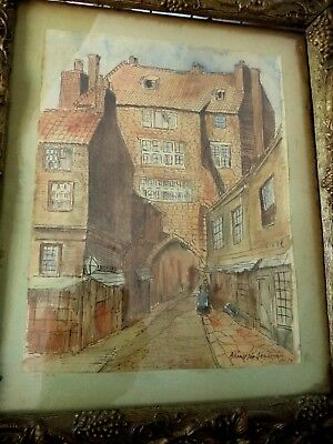 Architural Watercolor Painting Signed Albrecht VonNeigbergher 1931 City Street