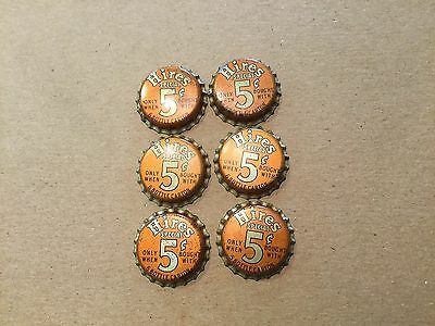 Lot 2 #884  Hires Special 5¢ Bottle Cap 6 Caps Cork Insert Never Used