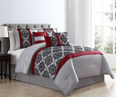 7 Piece Elda Red/Gray/Black Comforter Set