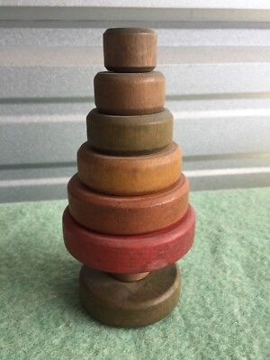 """Vintage Christmas Tree Wooden Stackable Parts. 1930's    8"""" Rare"""