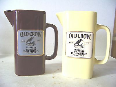 2 Old Crow Whiskey Pitchers Made By Wade China Limited Editions Yellow & Maroon