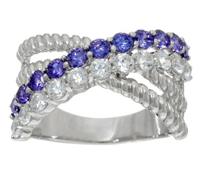 Diamonique And Simulated 1.00 Ct Tanzanite Sterling Silver Band Ring Size 9 Qvc