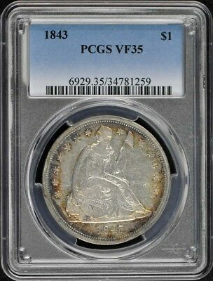 1843 $1 Liberty Seated Dollar PCGS VF35