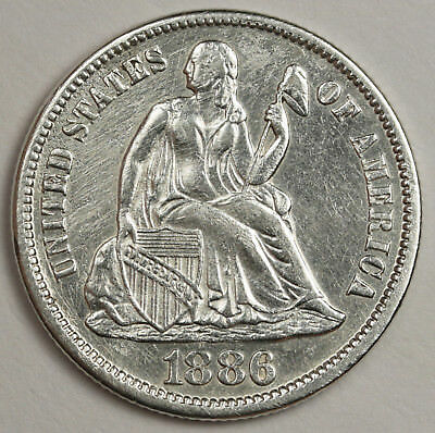 1886-s Liberty Seated Dime.  A.U.  123979