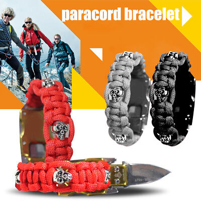 Survival Paracord Bracelet Knife Emergency For Camping Hiking Parachute Tool Kit