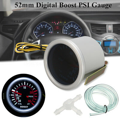 "Car Auto 2"" 52mm Universal LED Digital Smoke Len 12V Turbo Boost PSI Gauge"