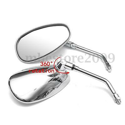 2pcs 10MM CHROME MOTORCYCLE OVAL REARVIEW SIDE MIRRORS FOR HONDA SUZUKI