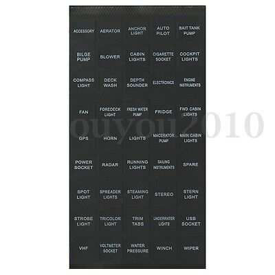 45pcs Rocker Switch Label Decal Circuit Panel Sticker Car Marine Boat