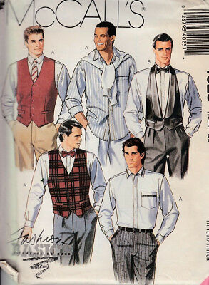 Mccall's Sewing Pattern #4025 Mens Size 36 ~ Shirt, Vest, Ties