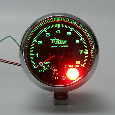 Universal 3.75'' 0-8000 RPM Tachometer Tacho Meter Gauge w/ 7 Colors Shift