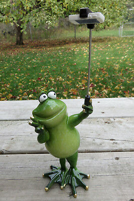 Frog Figurine Taking a Selfie Image With Selfie Stick  Frogs Ornament 11 x 4 in.