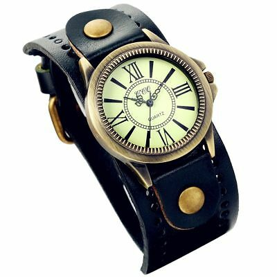 Lancardo Vintage Leather Bracelet Watch With Antique Brass Bronze Tone Bezel(Nav