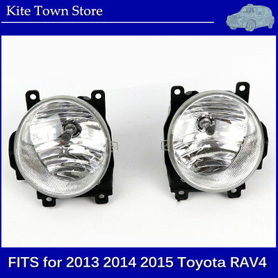 New Pair of Clear Lens Bumper Fog Driving Lights for 2013 2014 2015 Toyota RAV4