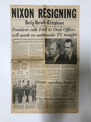 President Richard Nixon Resigning Newspaper Daily Herald - Telephone 1974